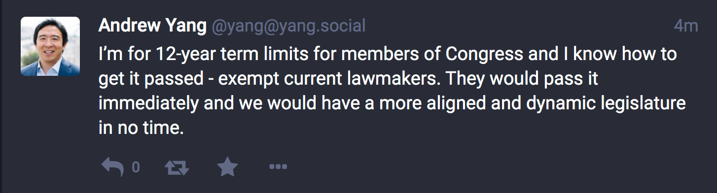 screenshot: Andrew Yang toot/tweet on term limits
