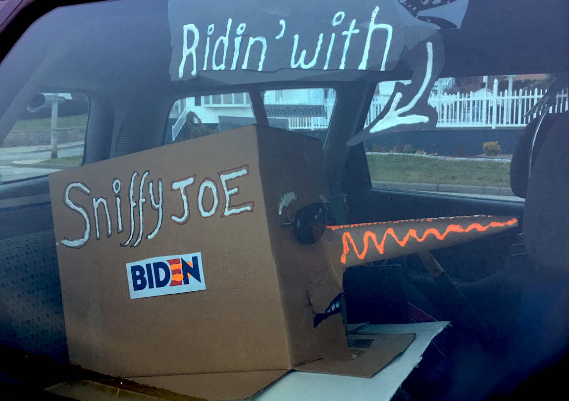 Sniffy Joe Pinokinose Biden rides in the back. He is now awaiting repurposing.