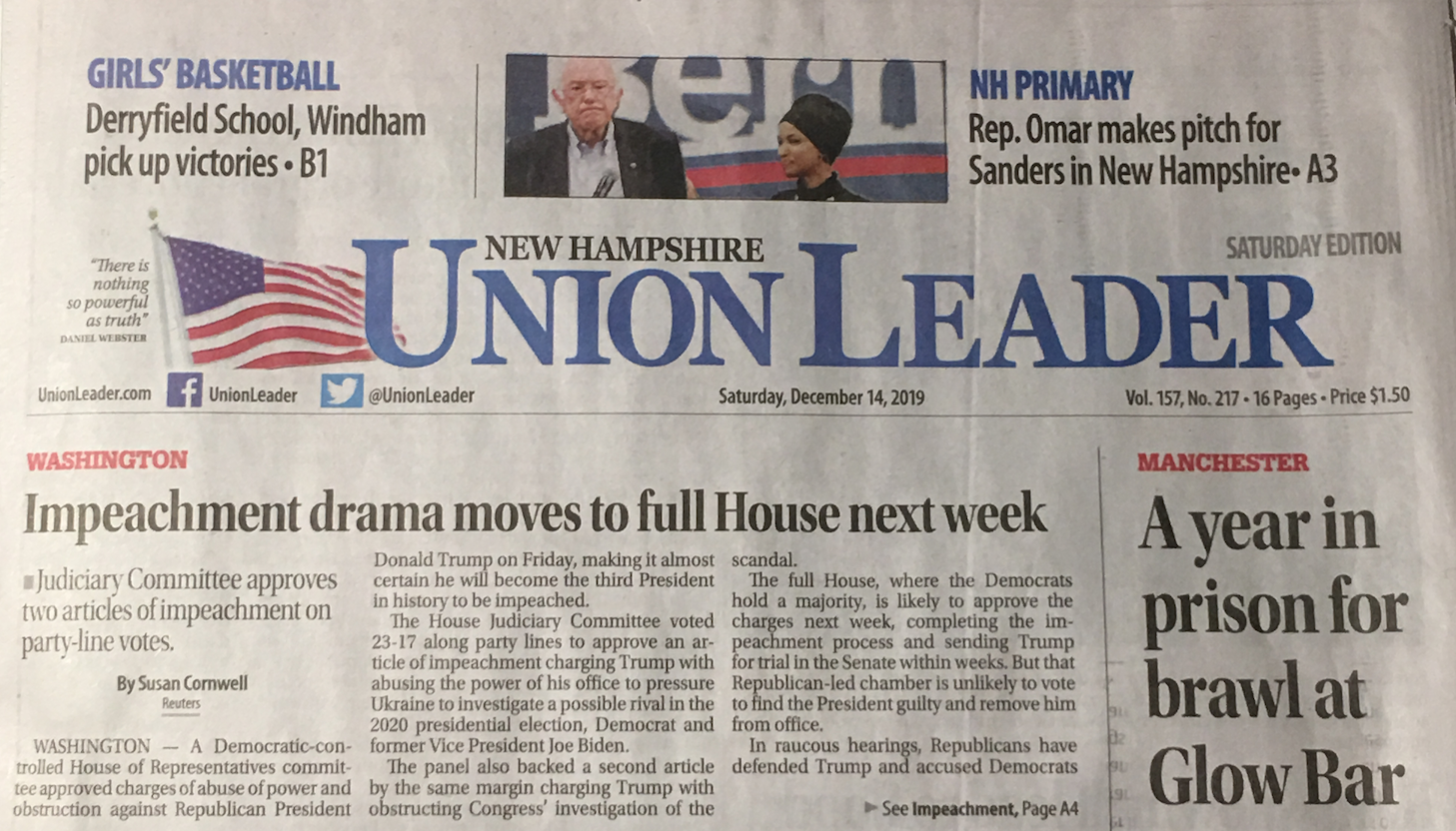 Front page Union Leader Manchester