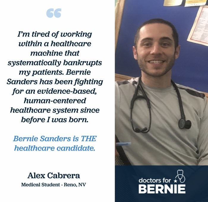 I'm tired of working within a healtheare machine that systematically bankrupts my patients. Bernie Sanders has been fighting for an evidence-based, human-centered healthcare system since before I was born.