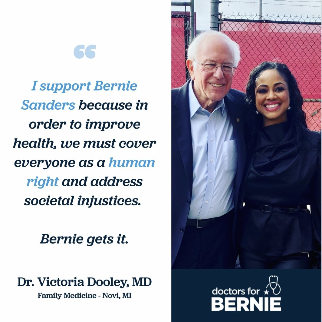 I support Bernie Sanders because in order to improve health, we must cover everyone as a human right and address societal injustices.