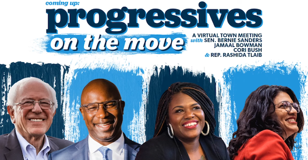 Progressives On The Move cover - Bernie Sanders, Jamal Bowman, Cori Bush, Rashida Tlaib