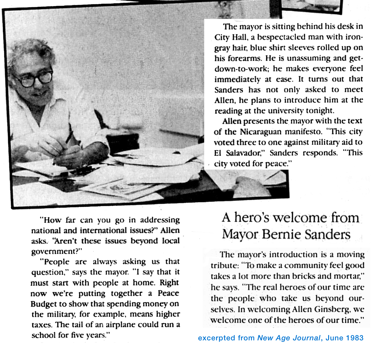 Bernie Sanders at his desk and excerpts from 1983