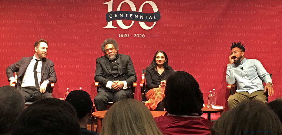 Second panel, l-r: Michael Brooks, Cornel West, Esha Krishnaswamy, Phillip Agnew.