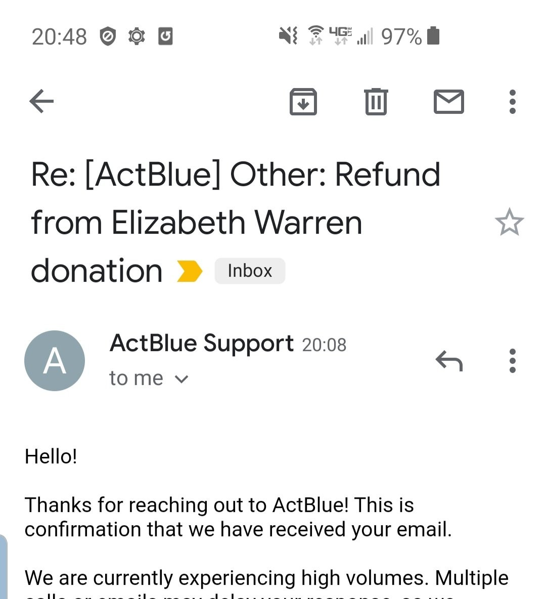 Warren refund receipt