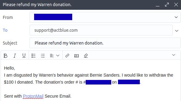 Warren refund request