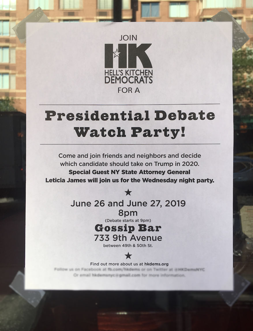 Hell's Kitchen Democrats debate party poster
